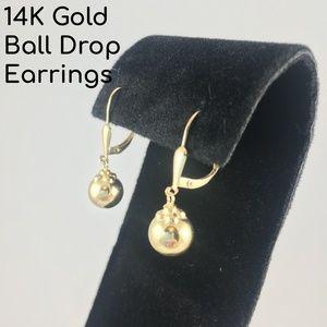 14K Gold Ball Drop Earrings
